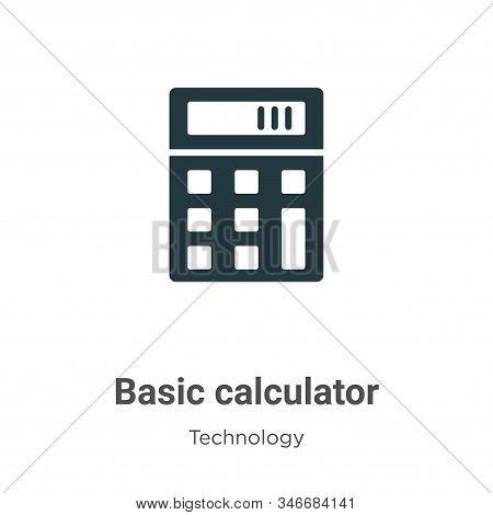 Basic Calculator Glyph Icon Vector On White Background. Flat Vector Basic Calculator Icon Symbol Sig