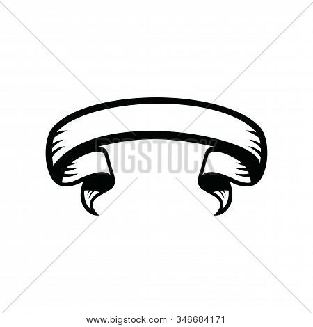 Ribbon Black Banner Vector Icon On White Background. Ribbon Black Banner Icon In Modern Design Style
