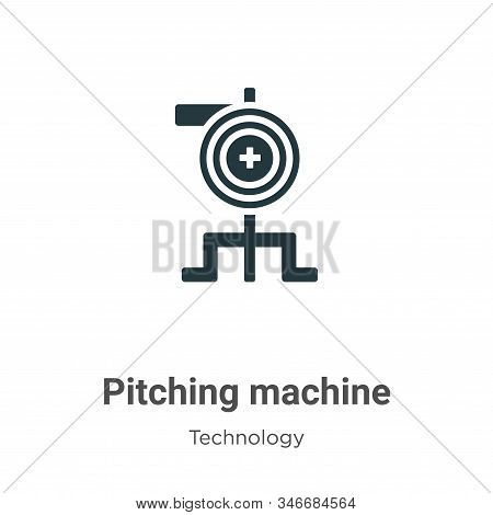 Pitching Machine Glyph Icon Vector On White Background. Flat Vector Pitching Machine Icon Symbol Sig