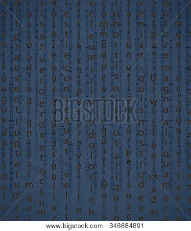 Table Of Cryptographic Text. Golden Symbols On A Blue Background. The Falling Letters And Signs With
