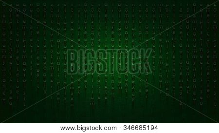 Fantastic Encoding With Falling Letters. Stylish Dark Green Background For Banners And Prints In The