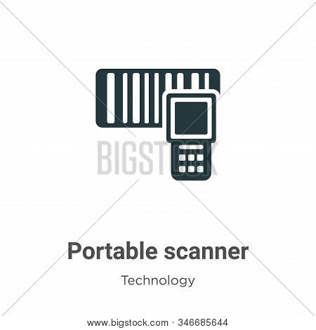Portable Scanner Glyph Icon Vector On White Background. Flat Vector Portable Scanner Icon Symbol Sig