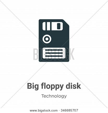 Big Floppy Disk Glyph Icon Vector On White Background. Flat Vector Big Floppy Disk Icon Symbol Sign