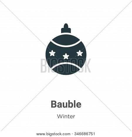 Bauble Glyph Icon Vector On White Background. Flat Vector Bauble Icon Symbol Sign From Modern Winter