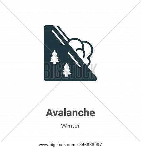 Avalanche Glyph Icon Vector On White Background. Flat Vector Avalanche Icon Symbol Sign From Modern