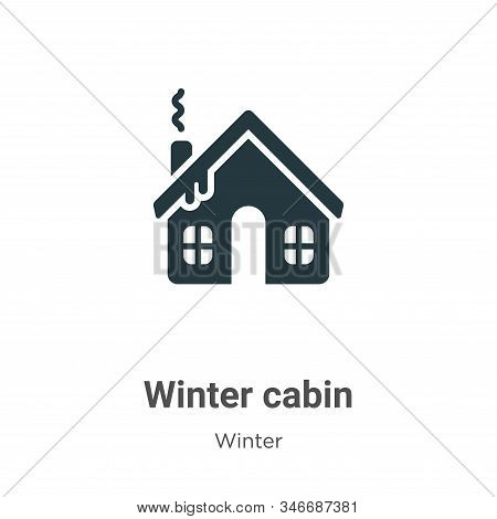 Winter Cabin Glyph Icon Vector On White Background. Flat Vector Winter Cabin Icon Symbol Sign From M