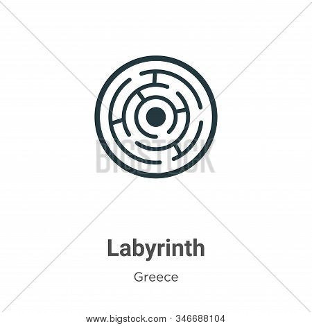 Labyrinth Glyph Icon Vector On White Background. Flat Vector Labyrinth Icon Symbol Sign From Modern