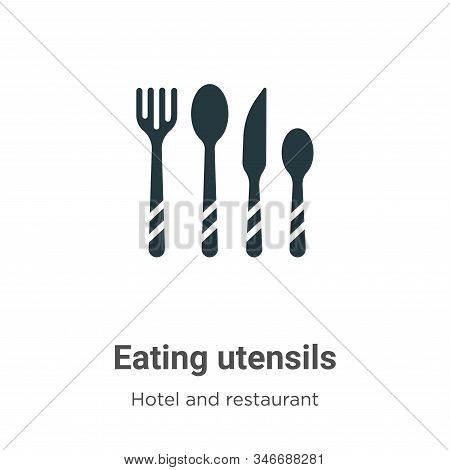Eating Utensils Glyph Icon Vector On White Background. Flat Vector Eating Utensils Icon Symbol Sign