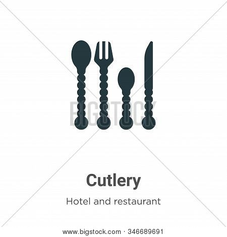 Cutlery Glyph Icon Vector On White Background. Flat Vector Cutlery Icon Symbol Sign From Modern Hote