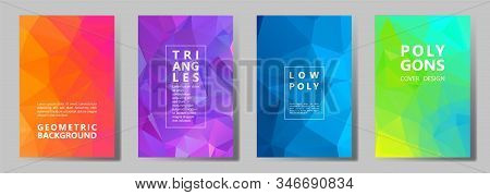 Facet Low Poly Vivid Cover Page Layouts Vector Graphic Design Set. Diamond Texture Low Poly Patterns