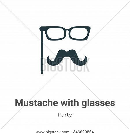 Mustache with glasses icon isolated on white background from party collection. Mustache with glasses