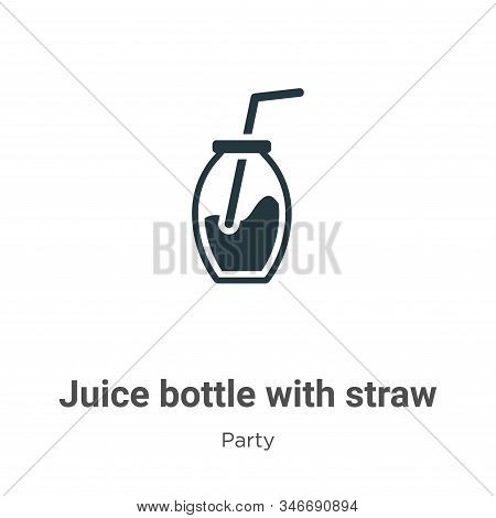 Juice bottle with straw icon isolated on white background from party collection. Juice bottle with s