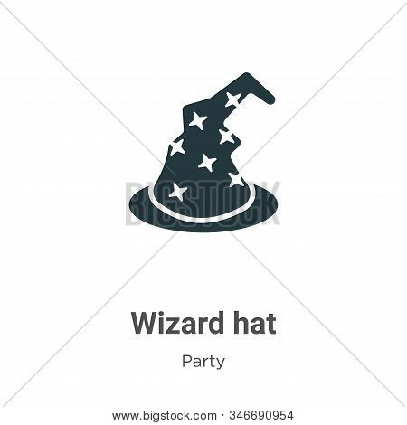 Wizard Hat Glyph Icon Vector On White Background. Flat Vector Wizard Hat Icon Symbol Sign From Moder