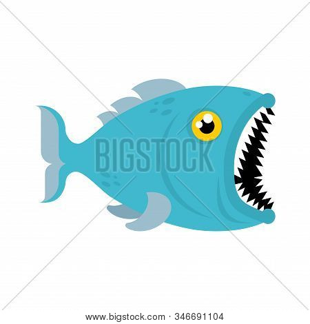 Predatory Fish With Open Mouth Isolated. Vector Illustration