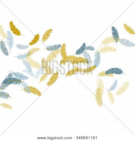 Colorful Silver Gold Feathers Vector Background. Detailed Majestic Feather On White Design. Plumage