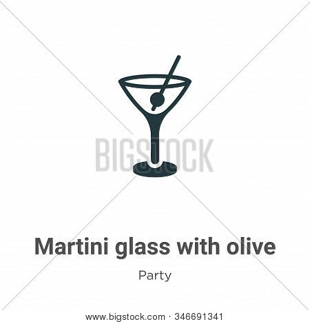 Martini Glass With Olive Glyph Icon Vector On White Background. Flat Vector Martini Glass With Olive