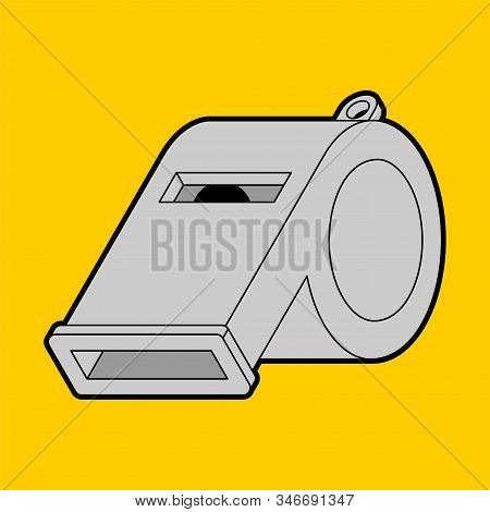 Whistle Isolated. Iron Catcall. Classic Coaches Whistle. Vector Illustration