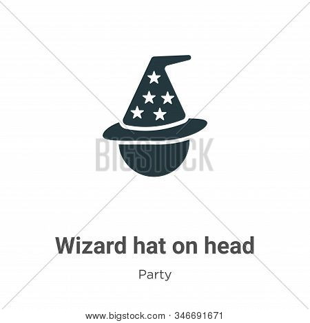 Wizard Hat On Head Glyph Icon Vector On White Background. Flat Vector Wizard Hat On Head Icon Symbol
