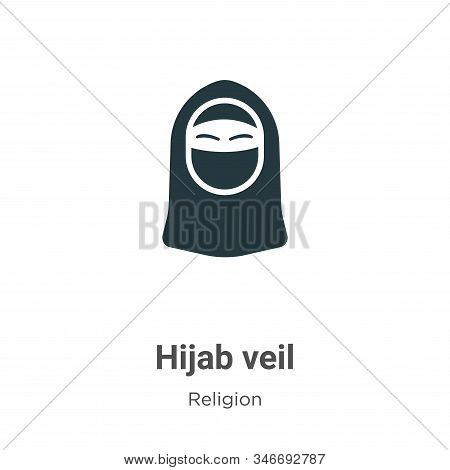 Hijab Veil Glyph Icon Vector On White Background. Flat Vector Hijab Veil Icon Symbol Sign From Moder
