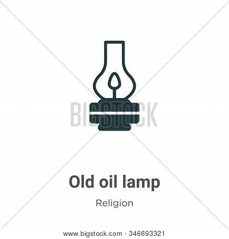 Old Oil Lamp Glyph Icon Vector On White Background. Flat Vector Old Oil Lamp Icon Symbol Sign From M