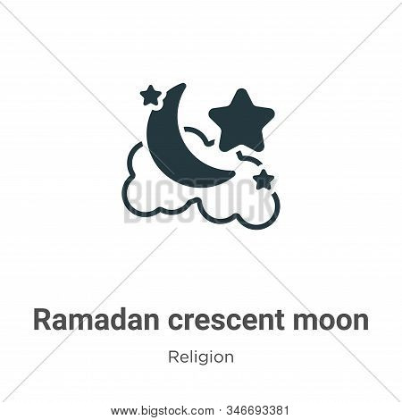 Ramadan crescent moon icon isolated on white background from religion collection. Ramadan crescent m