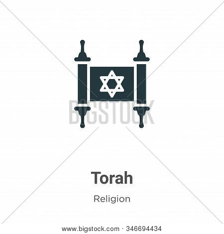 Torah Glyph Icon Vector On White Background. Flat Vector Torah Icon Symbol Sign From Modern Religion