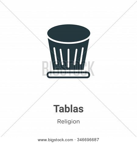 Tablas Glyph Icon Vector On White Background. Flat Vector Tablas Icon Symbol Sign From Modern Religi