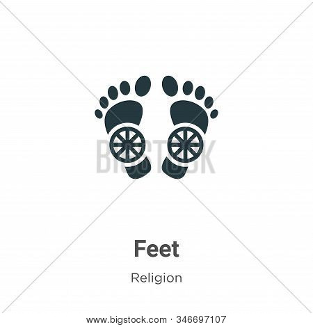 Feet icon isolated on white background from religion collection. Feet icon trendy and modern Feet sy