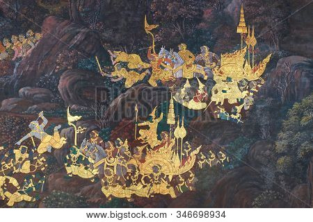 Bangkok, Thailand, December 27, 2018. Drawings From An Ancient Buddhist Monastery Depicting Battle S