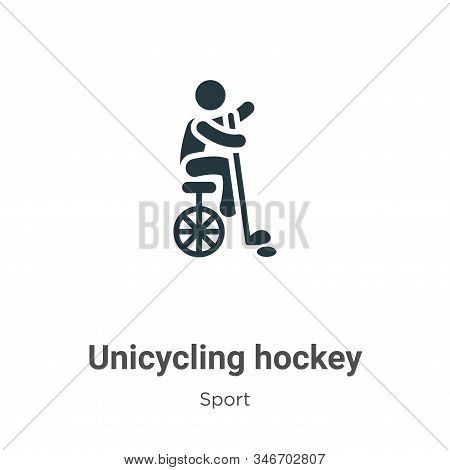 Unicycling Hockey Glyph Icon Vector On White Background. Flat Vector Unicycling Hockey Icon Symbol S