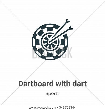 Dartboard With Dart Glyph Icon Vector On White Background. Flat Vector Dartboard With Dart Icon Symb