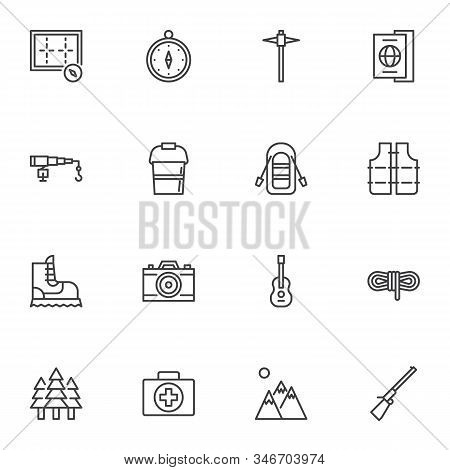 Camping Line Icons Set. Linear Style Symbols Collection Hiking Outline Signs Pack. Vector Graphics.
