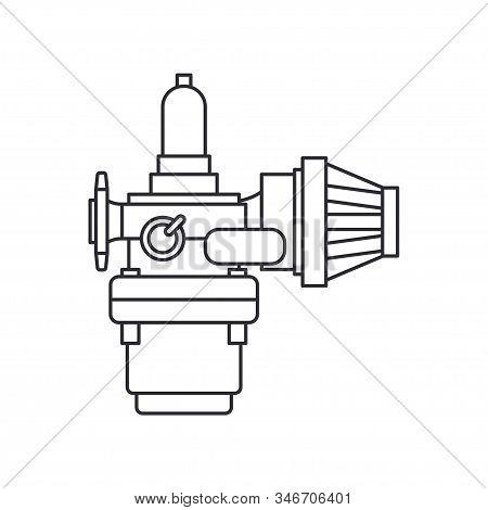 Line Vector Icon Auto Moto Parts Accessories Carburetor. Repair Service Equipment. Engine Elements S