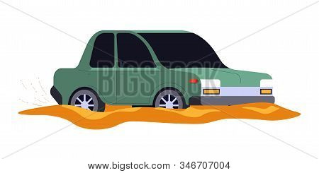 Car Accident, Vehicle Stuck In Mud Or Dirty Puddle Isolated Icon