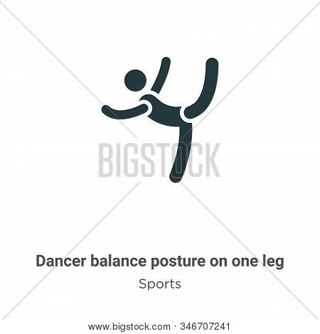 Dancer Balance Posture On One Leg Glyph Icon Vector On White Background. Flat Vector Dancer Balance