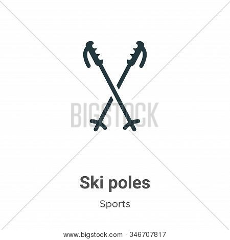 Ski poles icon isolated on white background from sports and competition collection. Ski poles icon t