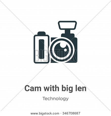 Cam with big len icon isolated on white background from technology collection. Cam with big len icon