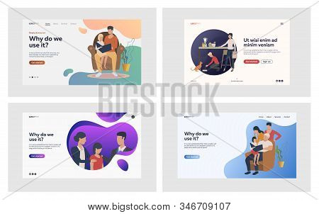 Family Relationship Set. Parents Reading Book With Kids, Giving Support, Feeding Pet. Flat Vector Il