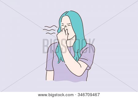 Stink, Smell, Disgust Concept. Young Unhappy Dissatisfied Woman Covers Nose With Hands, Showing Disg