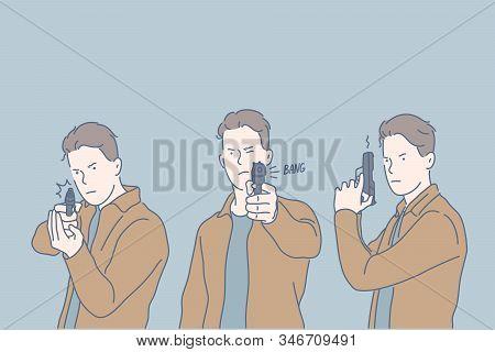 Selfdefense, Criminal, Shot, Set Concept. Dangerous Young Criminal Takes Gun, Intented To Kill. Seri