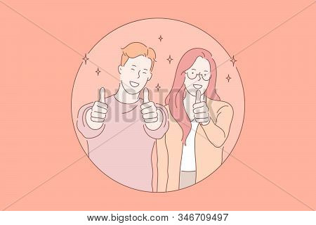 Smiling Young Couple, Good Mood Concept. Positive Emotions, Happy People, Boyfriend And Girlfriend S