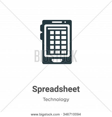 Spreadsheet icon isolated on white background from technology collection. Spreadsheet icon trendy an