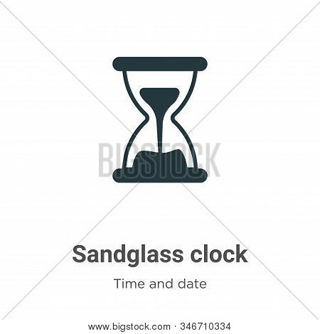 Sandglass clock icon isolated on white background from time and date collection. Sandglass clock ico