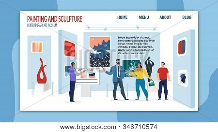 Paintings And Sculpture Exhibition In Art Museum. Responsive Landing Page Layout Design With Gallery