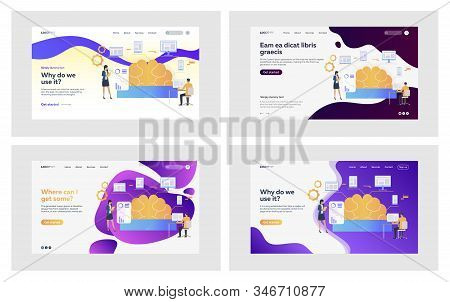 Brainwork Research Set. Business Colleagues Presenting Brain Diagram. Flat Vector Illustrations. Eff