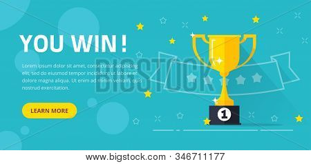 Winner Success Award Web Banner Or Competition Achievement Cup Win Background Vector Illustration Fl