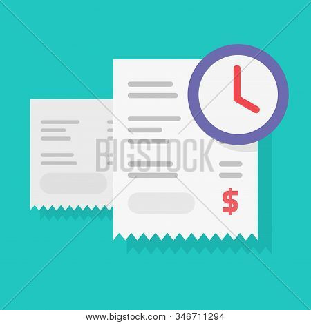Payment Schedule Time Notification Reminder Or Money Budget Transaction Waiting Vector, Flat Cartoon