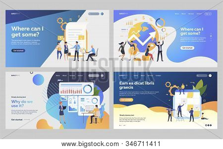 Set Of Business People Planning Financial Strategy. Flat Vector Illustrations Of Employees Developin