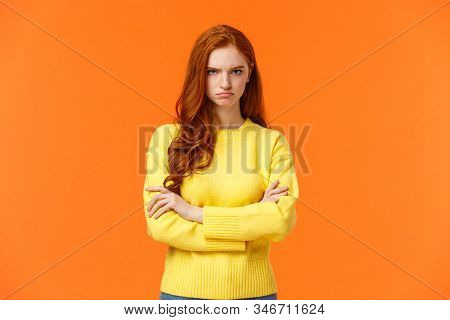 I Am Mad. Offended Sulky Cute And Timid Redhead Curly Girl, Cross Arms Chest, Sulking Angry And Tens