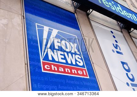 New York, Usa - July 10, 2019: Signboard Fox News Channel At The News Corporation Headquarters Build